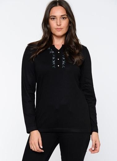 Butik Triko Yakası Dantelli Uzun Kollu Bluz Siyah